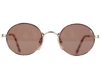 VINTAGE gold metal ROUND 80s SUNGLASSES Frame Italy eyewear 46-22