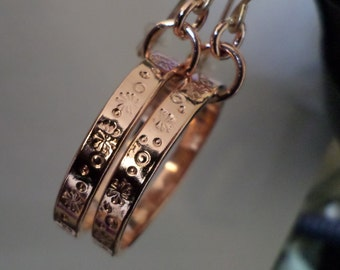 Copper Stamped Hoops