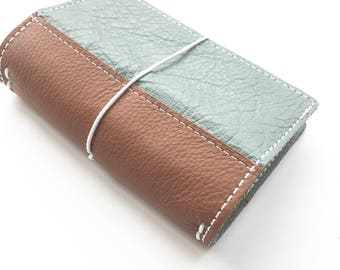 Leather Travelers Notebook - 5 Sizes - Genuine Leather - TN -   Grey with Brown Reinforced Spine