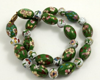 Vintage Chinese Cloisonne Bead Necklace with Gold Filled Silver Filigree Clasp