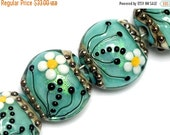 ON SALE 50% OFF New! 10508512 Four Seafoam Florals Lentil Beads - Handmade Glass Lampwork Beads