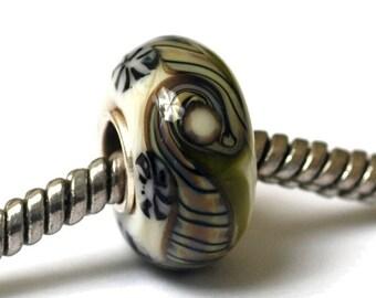 ON SALE 40% OFF Glass Lampwork Beads -  Large Hole Japanese Kimono Rondelle Bead -  Sc10048