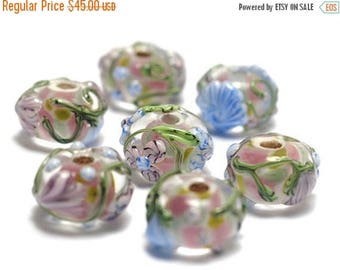 ON SALE 35% OFF Handmade Glass Lampwork Bead Set - Seven Light Pink w/Blue Floral Rondelle Beads 11005401