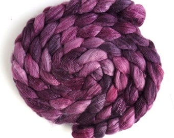Merino/ Superwash Merino/ Silk Roving (Top) - Handpainted Spinning or Felting Fiber, Violet's Family
