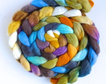 Finn Wool Roving - Hand Painted Spinning or Felting Fiber, Cheerful Disposition