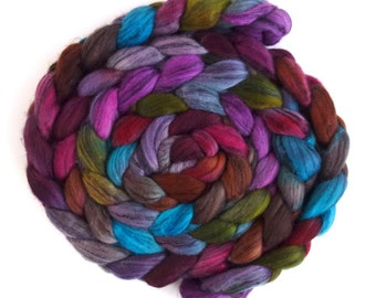 Merino Wool and Tencel,  Hand Dyed Spinning or Felting Fiber, Voices in My Mind