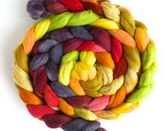 Merino Wool Roving Superfine - Hand Dyed Spinning or Felting Fiber, Satisfied with Summer