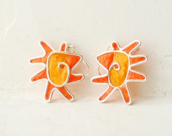 Sun Earrings, Orange Sterling Dangle Earrings, Bold Colorful 1st Anniversary Gift Paper Statement Jewelry Modernist Mod Artisan Metal Art