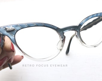 50's NOS Made in USA Graceline Cyan Ice Navy Blue Fade Cat Eye Eyewear Eyeglass Frames Iced Pale Clear Pastel Eyeglasses Petite Small Fit