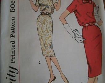 Sexy Vintage 1958 50s Simplicity dress suit jacket Pattern Mad Men Joan 14 34 bust