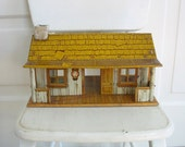 Vintage Metal Cabin, Metal House, Tin House, Metal Toy Cabin, Hunting Cabin, Marx Toys, Marx Cabin House, Metal Log Cabin, Vintage Log Cabin