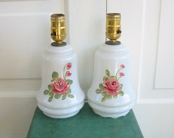 Vintage Pair Lamps, Pair White Lamps, Pair Milk Glass Lamps, Shabby Cottage Chic Lamp, Hand painted Lamps, Pink Rose Lamps, Flower Lamps