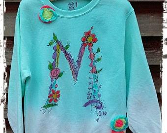 Hand Painted Bloom and Vine Initial Sweatshirt Made to Order YelliKelli