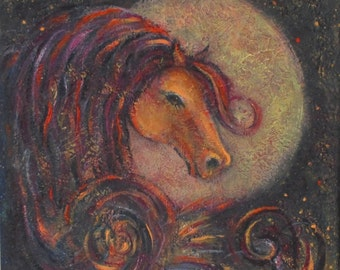 Horse  Painting modern horse decor moon horse art