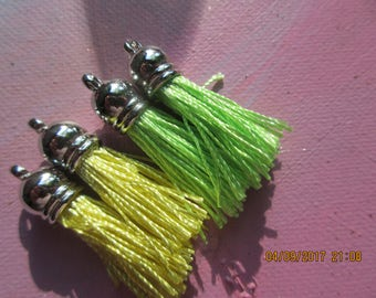 4 Silk Tassels, Lots of color, Add to bracelets, Add to Necklaces,Many uses,