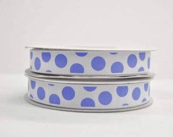 Polka Dot Grosgrain 5/8 inch x 25 yards(White/Blue) ...On Sale Now..33% Off