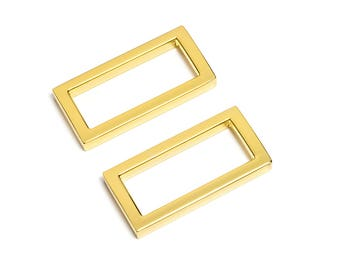 "30pcs - 1 1/4"" (32mm) Flat Zinc Square Ring - Gold - (FSR-113) - Free Shipping"