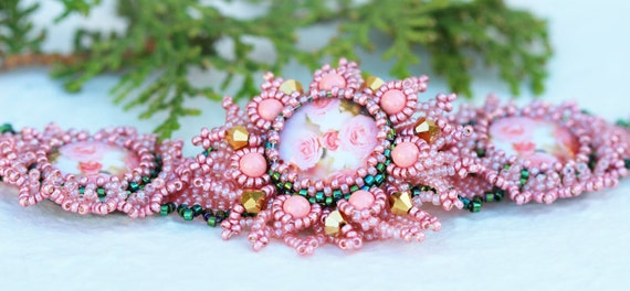 Bracelet with Roses Peach, Pink, , Gold and Green Jewelry Romantic Gift Valentine's Day