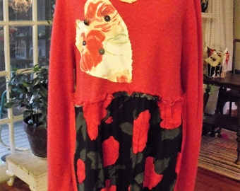 Red Cashmere Sweater Tunic/ L-1X Roses and Heart Valentine Tunic/ Cashmere, Linen, Rayon Upcycled Tunic/ Sheerfab Funwear