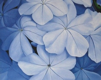 Blue Flower Painting - Blue Acrylic Realistic Floral Wall Art