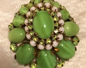 Vintage Schreiner 2 Inch High Dome Brooch. Various Size Marbled Green Cabs and Small White Cabs, and Reverse Set Cut Glass Stones. D7