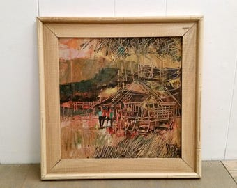 Original Framed Mid Century Modern Sgraffito Oil Painting Signed by Artist People by Stilt House
