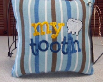 1046 Blue,Brown and White Striped Tooth Fairy Pillow