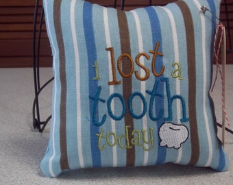 1039  Blue,Brown and White Striped Tooth Fairy Pillow
