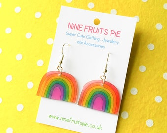 Kawaii April showers medium rainbow earrings in bright