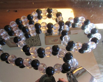 Black clear necklace and bracelet