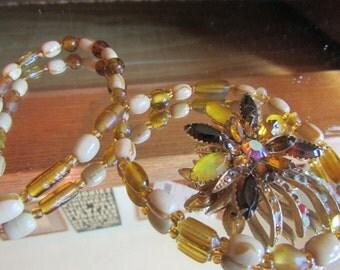 amber beads plus flower