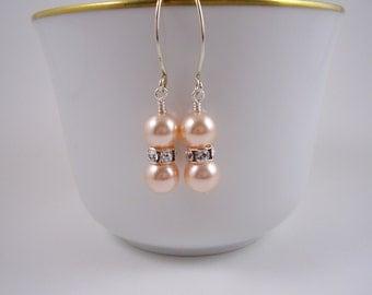 Peach Pearl Earrings-Sparkle Peach Earrings-Spring Weddings-Bridesmaid Peach Earrings-Swarovski Peach Pearl Earrings-Gift Ideas for Her