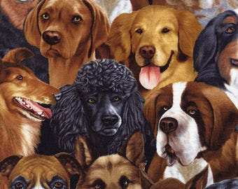 Dogs fabric | Michael Searle | Michael-C1380-Natural  | Timeless Treasures Cotton Quilting