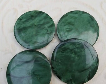 Vintage Buttons - large flat  matching jade green lot of 4 matching (feb 202 17)