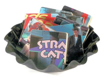 Stray Cats recycled Built for Speed album cover coasters and record bowl
