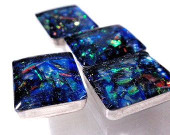 Faux Fire Opal Cabachons Reclaimed Recycled Geometric Shapes Square/Rectangle Resin Galaxy Blue Acrylic Phone Case Decor Decoden  A2