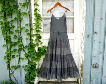 Slate Blue Beaded Tiered Maxi Tank Top Dress// Upcycled// Summer// Festival// Small Medium// emmevielle