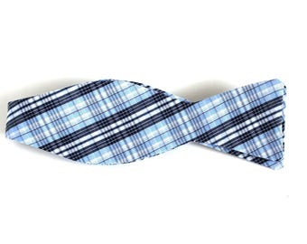 Blue Plaid Bow Tie -  Tie It Yourself Bow Tie - Upcycled Bow Tie  - Cotton Bow Ties - Bowties for Men - Men's bow ties - Self Tie Bow Ties
