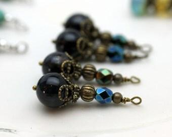Black Tigereye and Gunmetal Czech Bead Earring Dangle Pendant Charm Drop Set