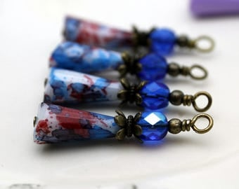 Vintage Style Yellow Red White and Blue Teardrop and Blue Czech Crystal with Brass Bead Dangle Charm Drop Set