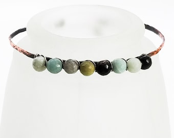 Hammered Copper Bracelet - Amazonite Polished Faceted Round Semi-Precious Stones