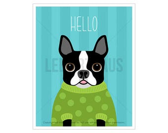 67D Dog Print - Hello Print - Boston Terrier in Green Polka Dot Sweater Wall Art - Funny Dog Wall Art - Boston Terrier Wall Art - Dog Art