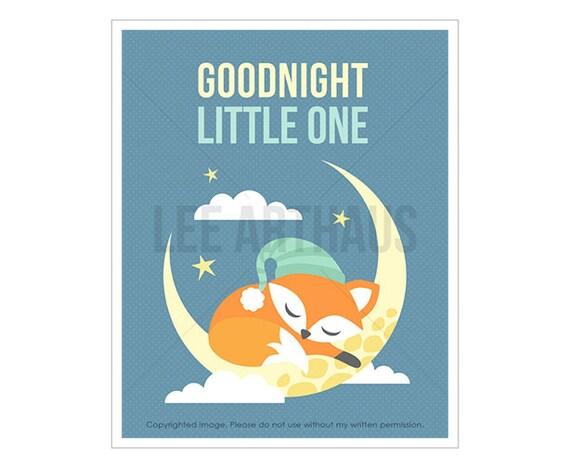 1T Fox Print - Good Night Little One - Fox Sleeping on Moon Wall Art - Nursery Quote Print - Baby Boy Nursery Decor - Fox Drawing - Fox Art