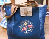 Handbag Purse Tote Vintage Denim Vintage Needlepoint Large