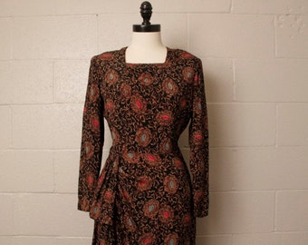 Vintage 1940's Puritan Forever Young Rayon Dress M
