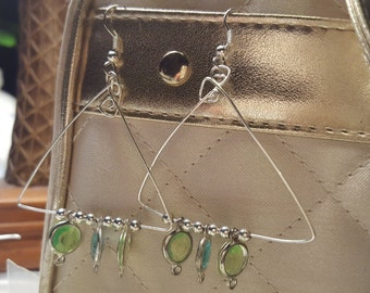 Silver Triangle with pastle blue and green pendants