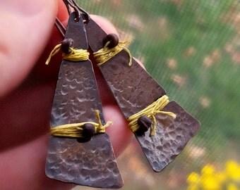 Rustic Bohemian Earrings, Hammered Copper & Linen, Natural Beads, Natural Fibers, Earthy Boho Style, Free Spirit Earrings, Tribal Earrings