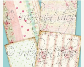SALE SHABBY BACKGROUNDS Collage Digital Images -printable download file-