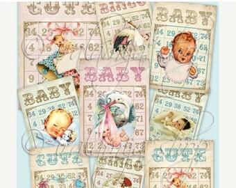 SALE BABY BINGO CARdS Collage Digital Images -printable download file-