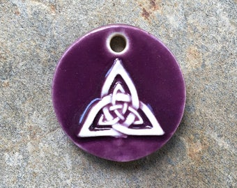 Purple Ceramic Celtic Trinity Knot Pendant